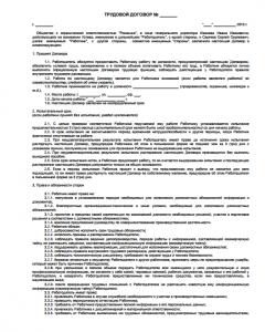 Образец трудового договора 2019 года
