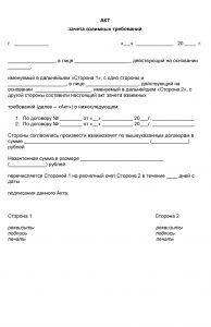 Акт взаимозачета между организациями - образец 2020