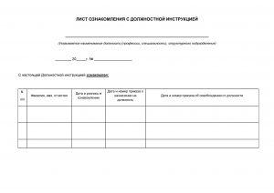 Лист ознакомления с должностной инструкцией - образец 2020