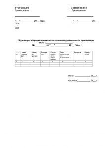 Журнал приказов по основной деятельности - образец заполнения 2021