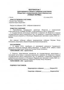 Образец протокола учредителей о смене директора  2020